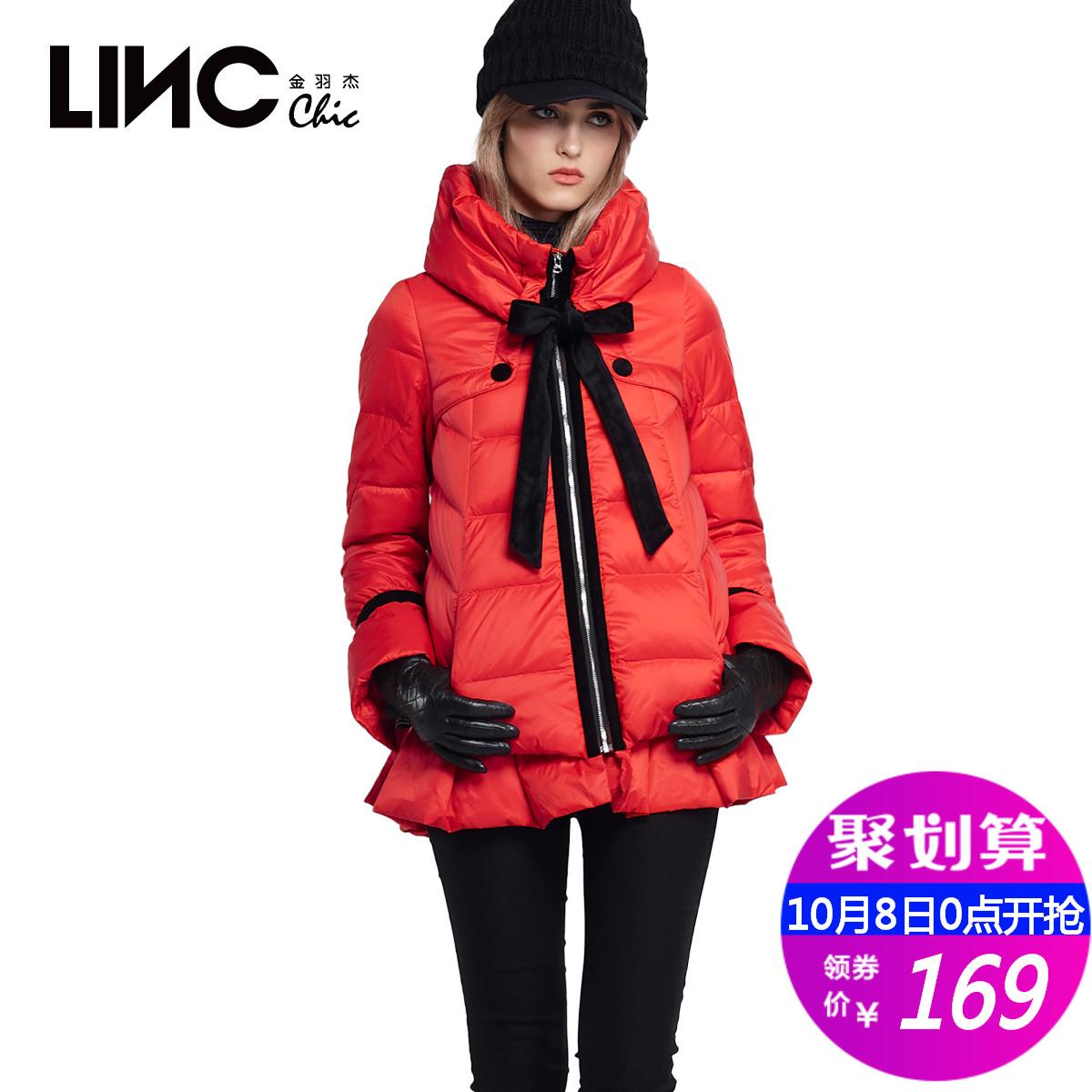 LINC-金羽杰时尚年冬季甜美蝴蝶结A廓形羽绒服女保暖192110