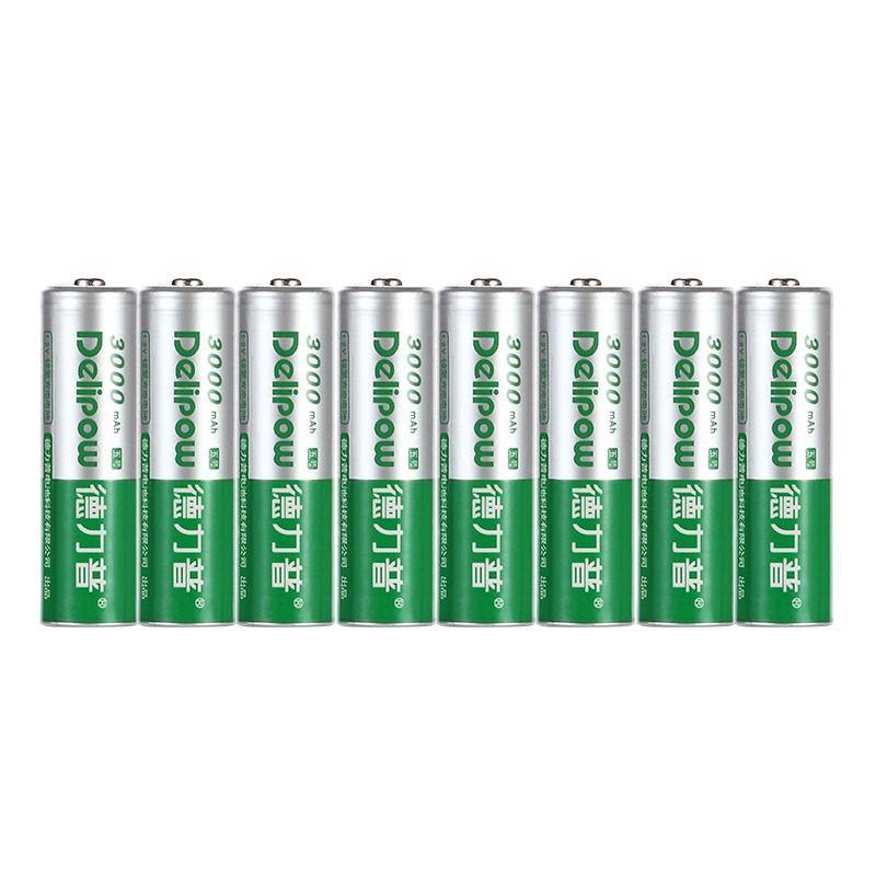 德力普5号充电电池3000毫安大容量8节话筒相机通用AA五号1.5v电池