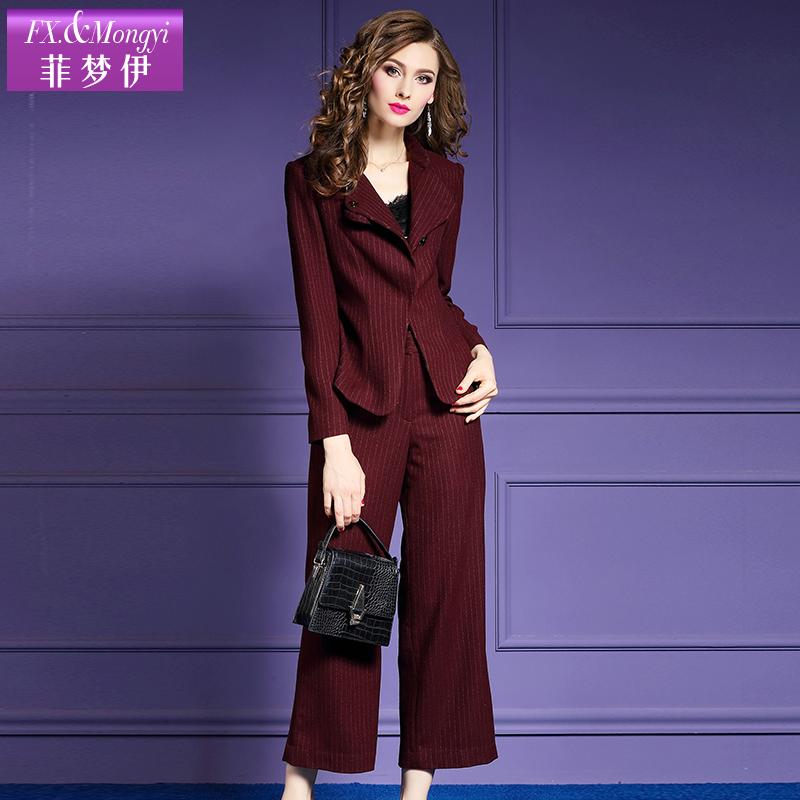 菲梦伊羊毛呢套装女秋季2018新款喇叭裤职业装西装ol两件套18519