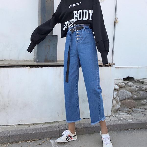 实拍2018金灿灿的秋 新款韩版高腰阔腿送根儿腰帶宽松显瘦九分裤