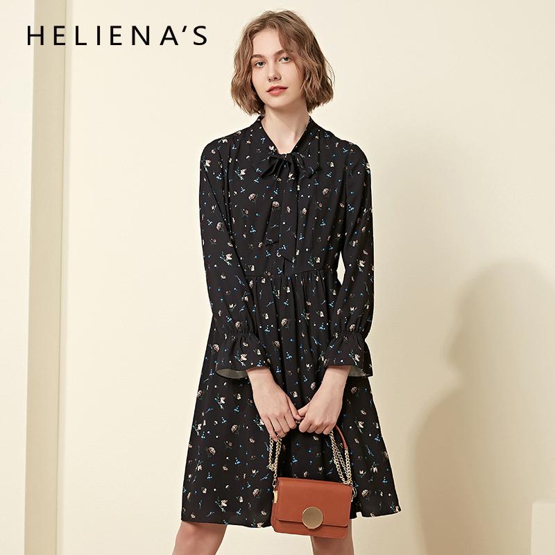 海兰丝雪纺连衣裙秋装女2018新款长袖中长款修身显瘦气质碎花裙子