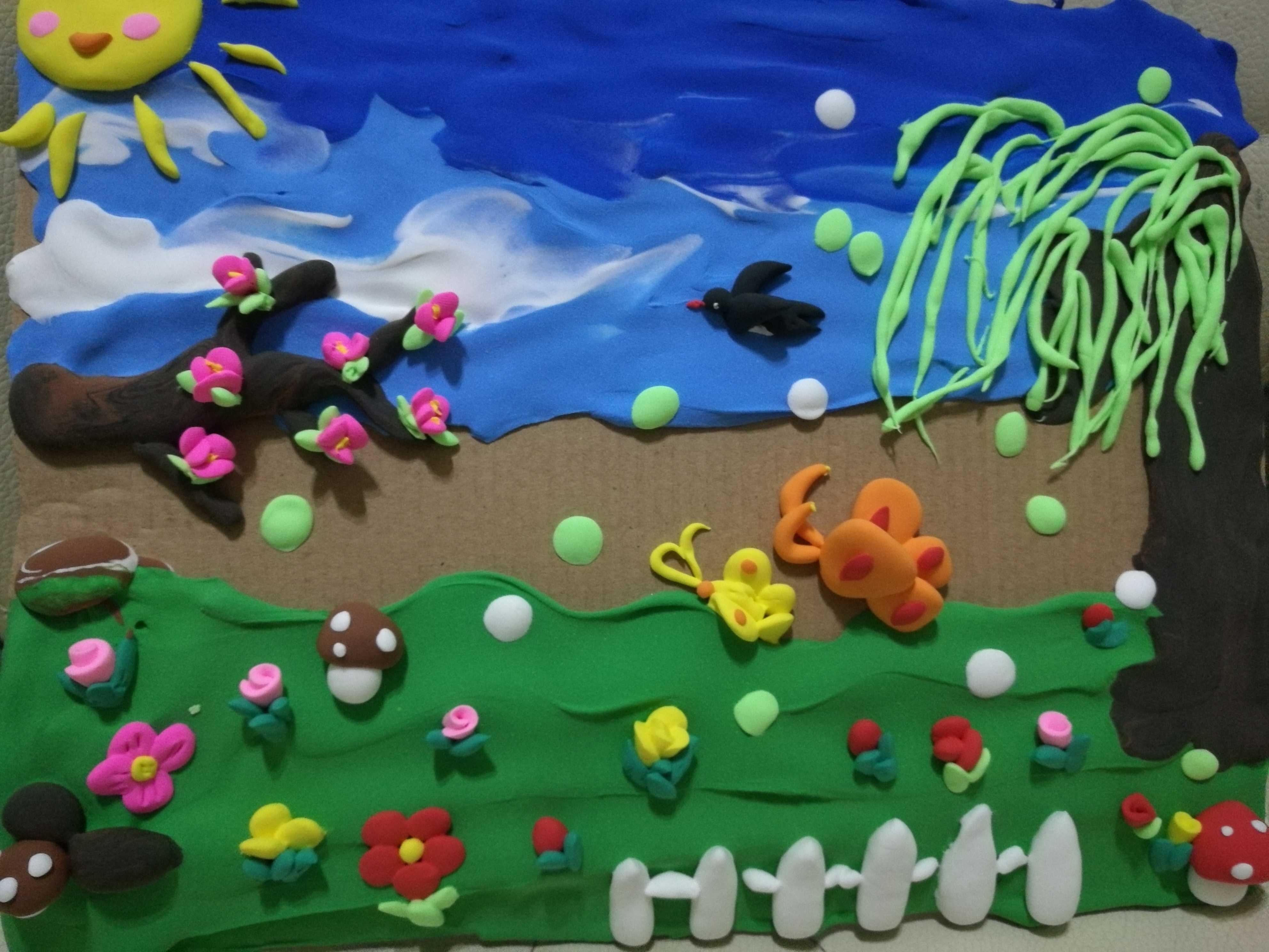 粘土手工场景作品春天来了主题学生作业立体画浮雕画春暖花开图片