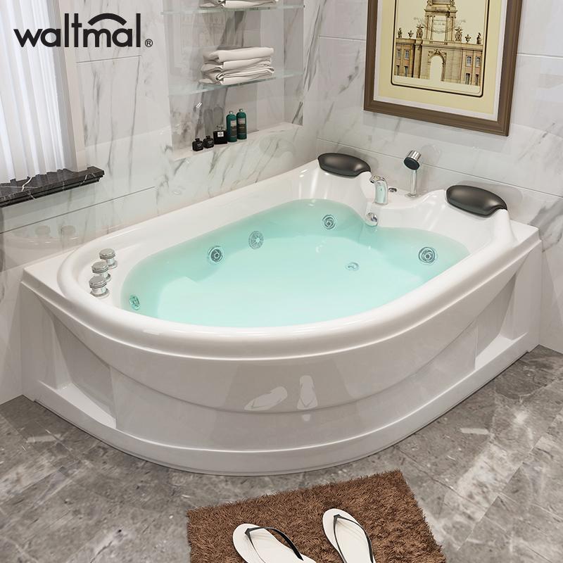 沃特玛 双人浴缸冲浪按摩家用成人情侣浴缸扇形亚克力浴盆浴池