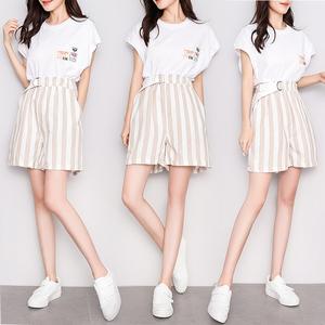 视频+实拍夏季新款女装上衣短裤两件套套装#T576