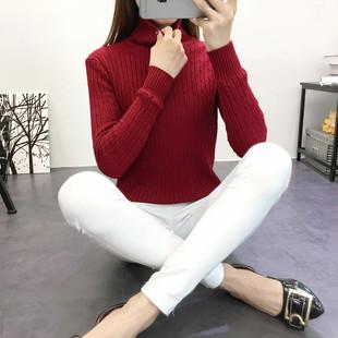 1秋冬季加绒毛衣女套头长袖短款大码修身保暖高领加厚针织衫打底