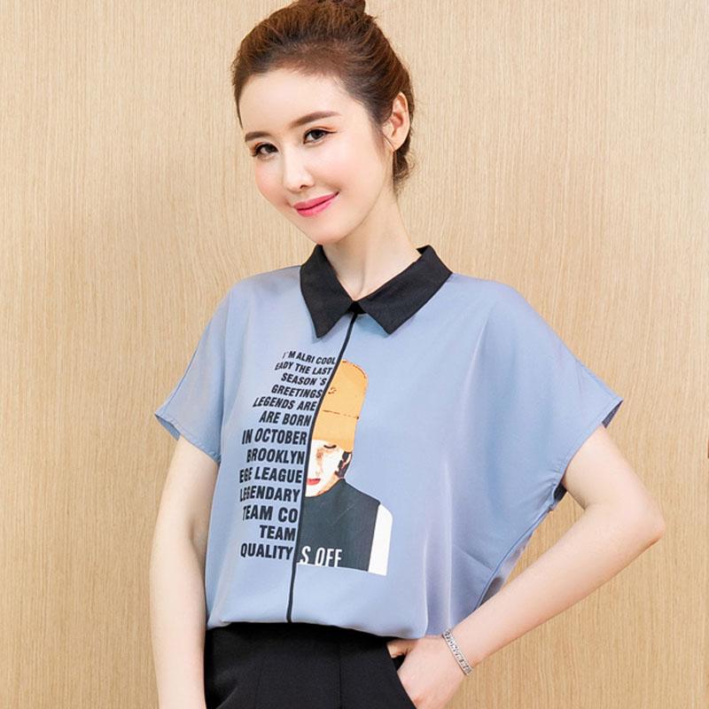 设计感字母印花女孩雪纺衫薄款衬衫2019夏装韩版宽松短袖小衫上衣