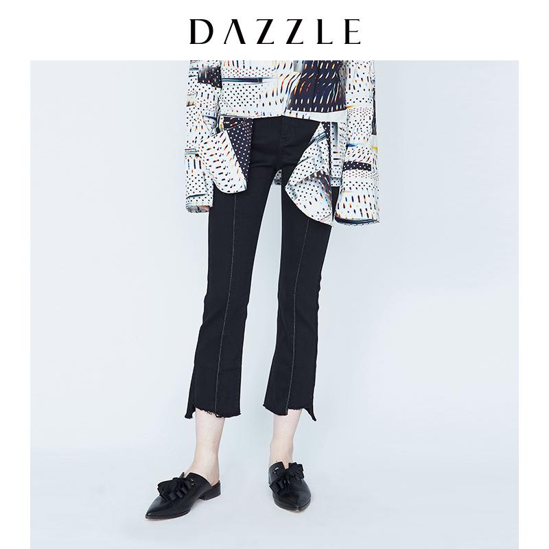 DAZZLE地素 18秋冬新款高弹修身微喇紧身牛仔裤九分女2F3R5021A
