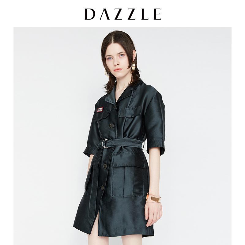 DAZZLE地素 新款 军旅风哑光收腰五分袖中长风衣外套女 2A3F6081Q