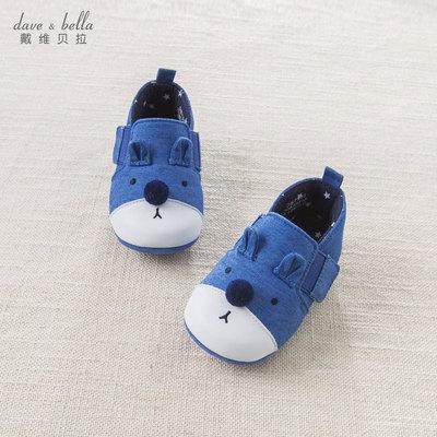 davebella戴维贝拉秋季新款新生婴儿鞋子 宝宝软底步前鞋DB7352