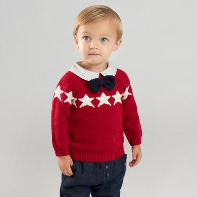 davebella戴维贝拉2018男女童新款针织衫宝宝绅士套头毛衣DBM8909
