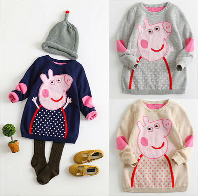1-2-3-4-year-old female sweater Turtleneck sweater autumn and winter children's cotton long-sleeved double sweater tide