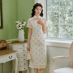 实拍《橙花香片》法式夏季年轻款少女复古改良版连衣裙旗袍仙