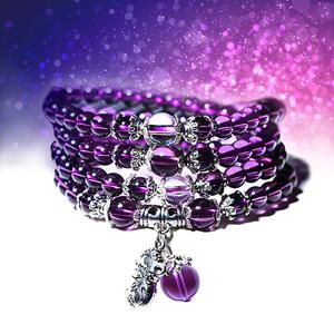 十二生肖紫水晶黄人造水晶手链女四圈款韩版简约个性佛珠手串生日