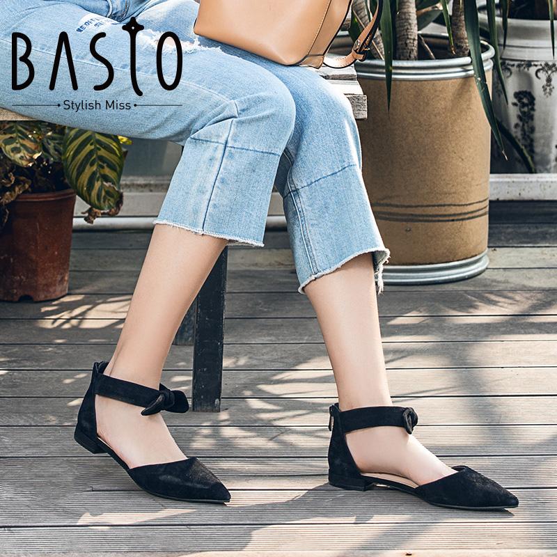 百思图2018春季专柜同款羊皮甜美蝴蝶结尖头凉鞋RIO02AK8
