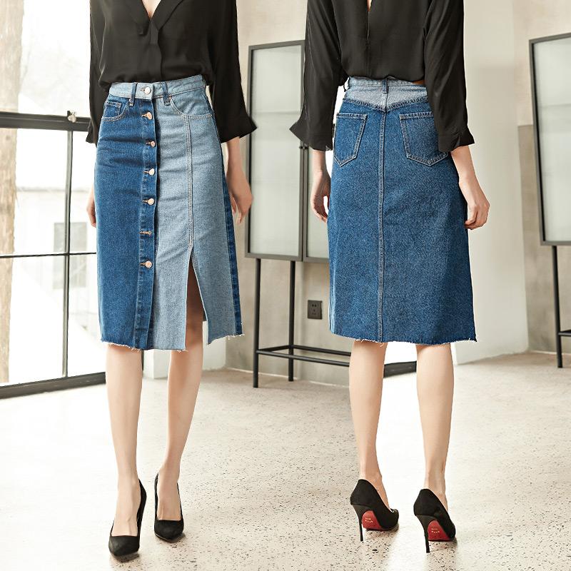 牛仔半身裙女2018秋季新款拼接撞色单排扣包臀裙显瘦中长款A字裙