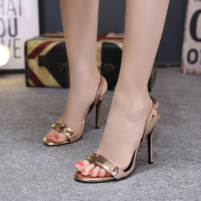 Word buckle high-heeled sandals female European and American...