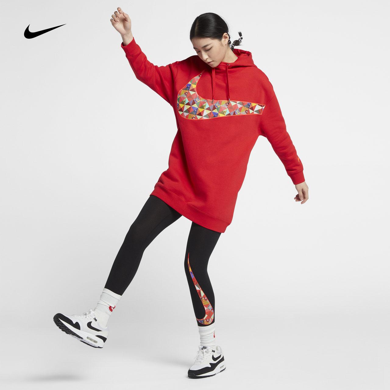 Nike耐克新款女子卫衣 百家衣拼接Swoosh CNY 套头衫BV5984-600