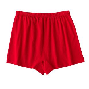 中老年本命年内裤男女同款大红色平角裤纯棉老人短裤红短裤裤头