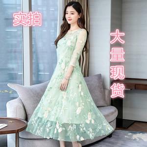 实拍2819#2020春季新款韩版修身长袖网纱绣花裙中长款蕾...
