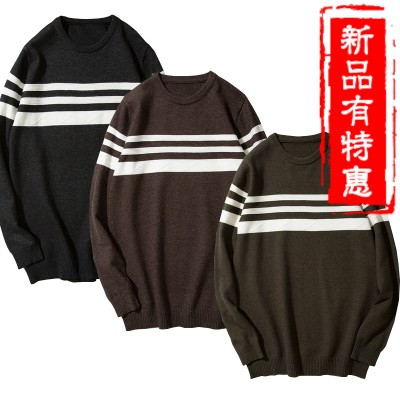 3 autumn and winter new collar round sweater male Korean version of the trend of personality stripe long-sleeved sweater men's clothing