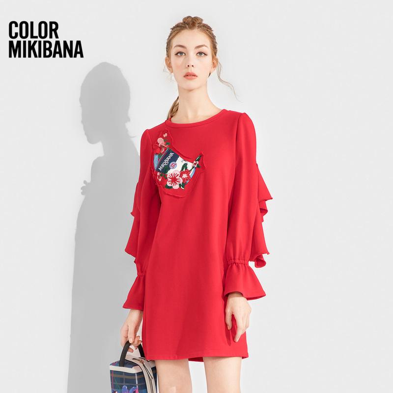 mikibana米可芭娜连衣裙女长袖宽松显瘦荷叶边袖口2018秋季新款8B