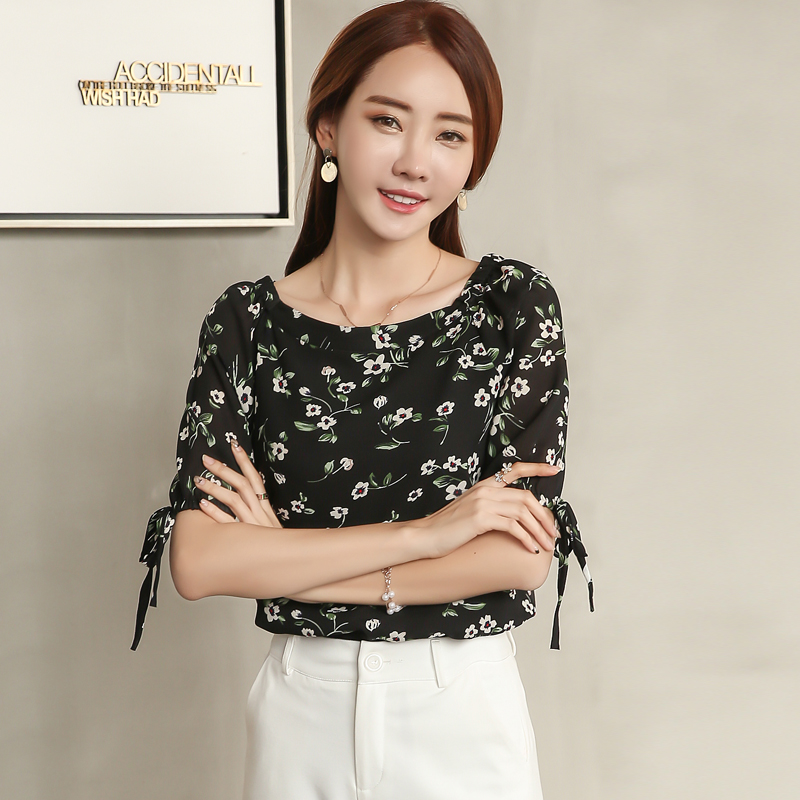实拍印花雪纺衫女短款2017夏装新款女装韩版系带小衫中袖上衣