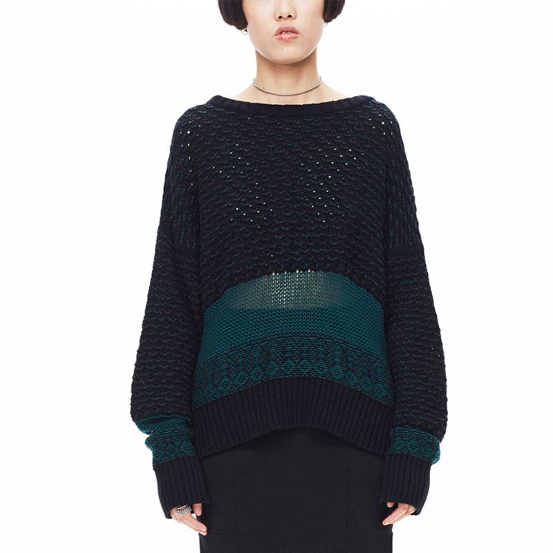 设计师新款 女黑绿色宽松钩针拼接套头衫毛衣BABYGHOST-B16FW0204