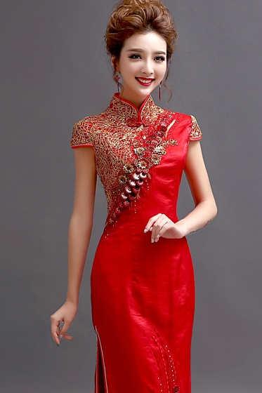 wedding dress Chinese red short-sleeved bride wedding wedding ...