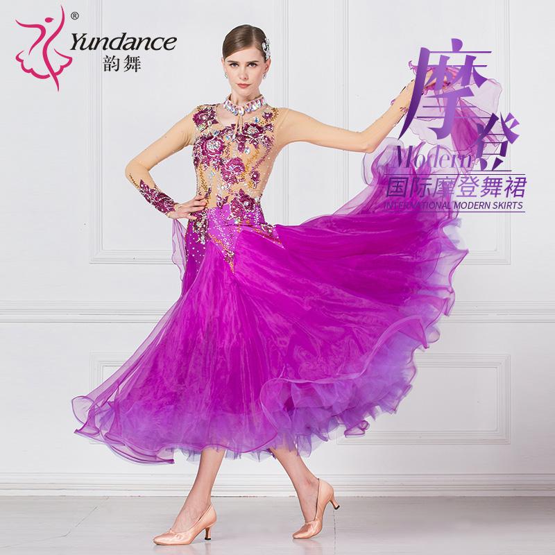 韵舞??摩登舞演出服2018新款成人女交谊舞蹈服比赛服国标舞连衣裙