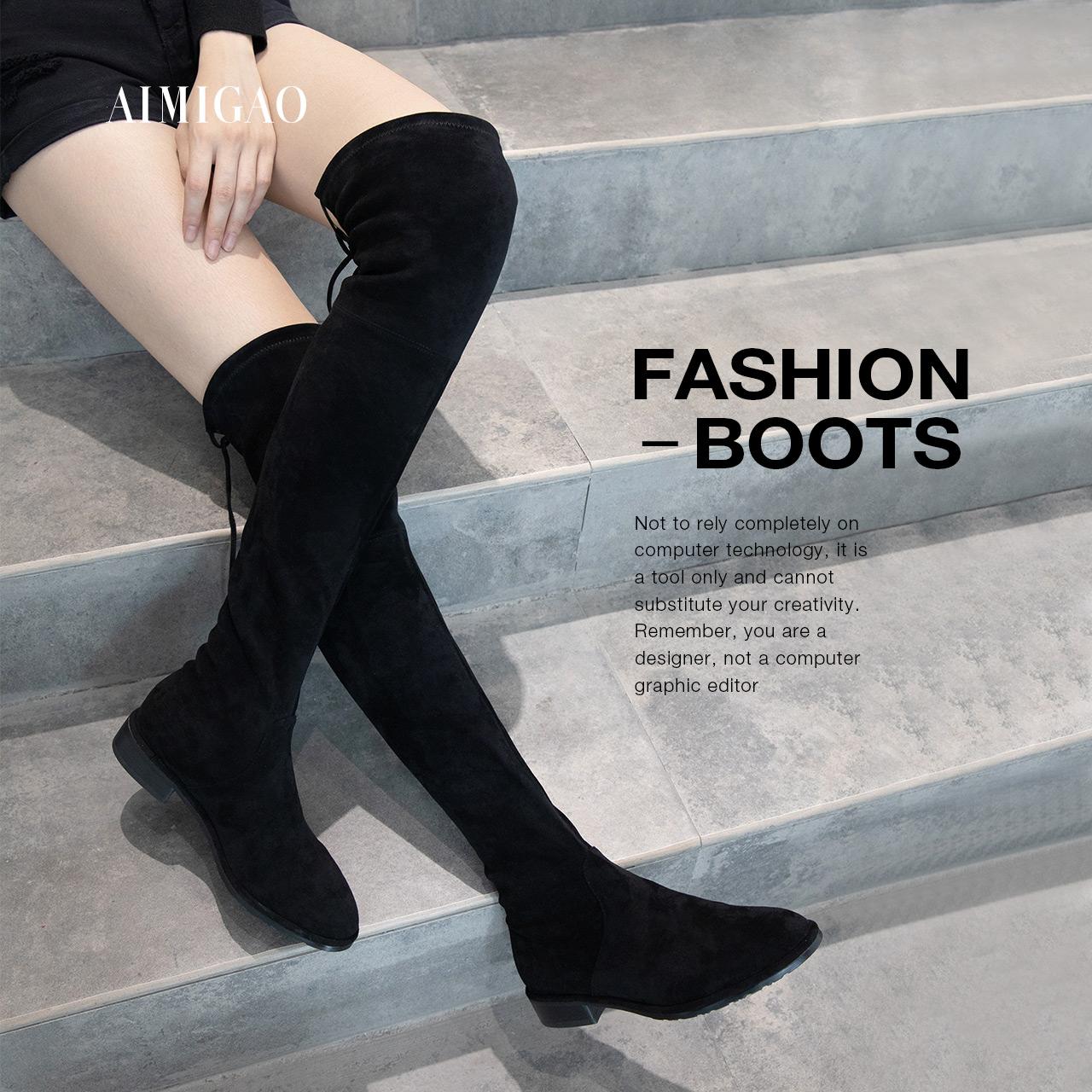 潮牌爱米高2018秋冬新品弹力羊猄绒过膝长靴女系带低粗跟高筒靴