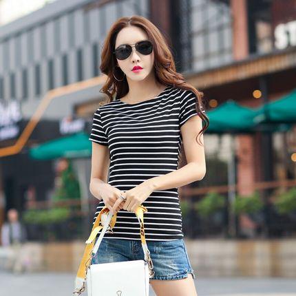 条纹t恤女夏季短袖纯棉韩版时尚百搭白色打底衫上衣女新款2018