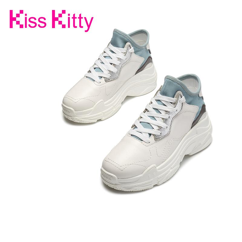 KissKitty2018秋季新款松糕休闲运动鞋ulzzang老爹鞋厚底小白鞋女
