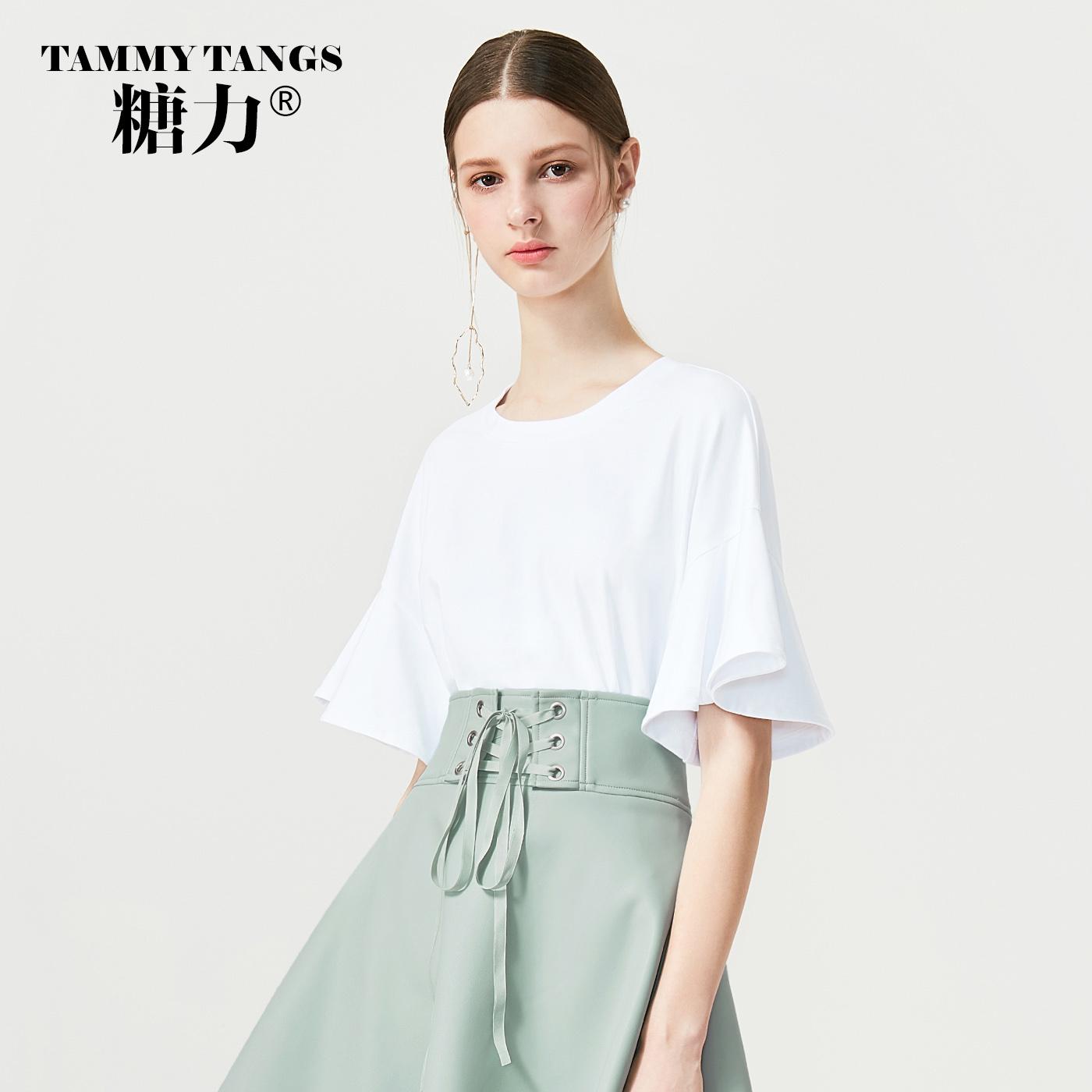 糖力2018夏装新款白色荷叶袖T恤女短袖棉质圆领百搭打底衫上衣