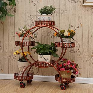 多层带轮铁艺花架欧式组装转角客厅移动置物架阳台简约田园盆景架