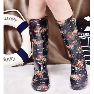 πακέτο μετά αυθεντικά γαλότσες γυναίκες υψηλό βαρέλι με αδιάβροχες μπότες λαστιχένια παπούτσια μπότες υψηλής μόδας τζόκερ κρύσταλλο αντιολισθητική την άνοιξη, καλοκαίρι, φθινόπωρο εδάφιο