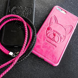 韩国斗牛犬iphone6/7手机壳+送挂绳
