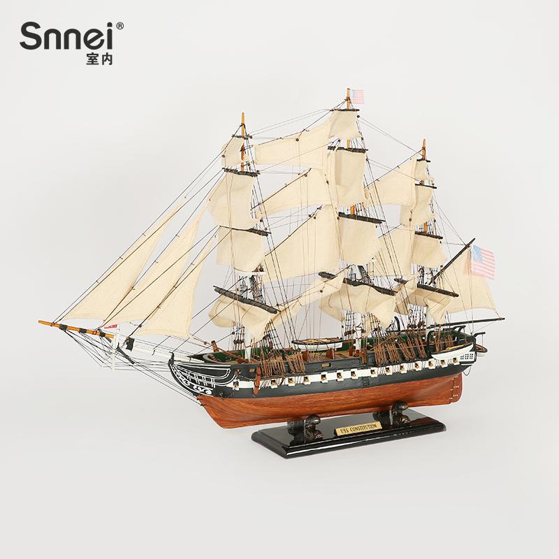 美国宪法号驱逐舰办公桌装饰摆件一帆风顺帆船模型礼品手工艺船