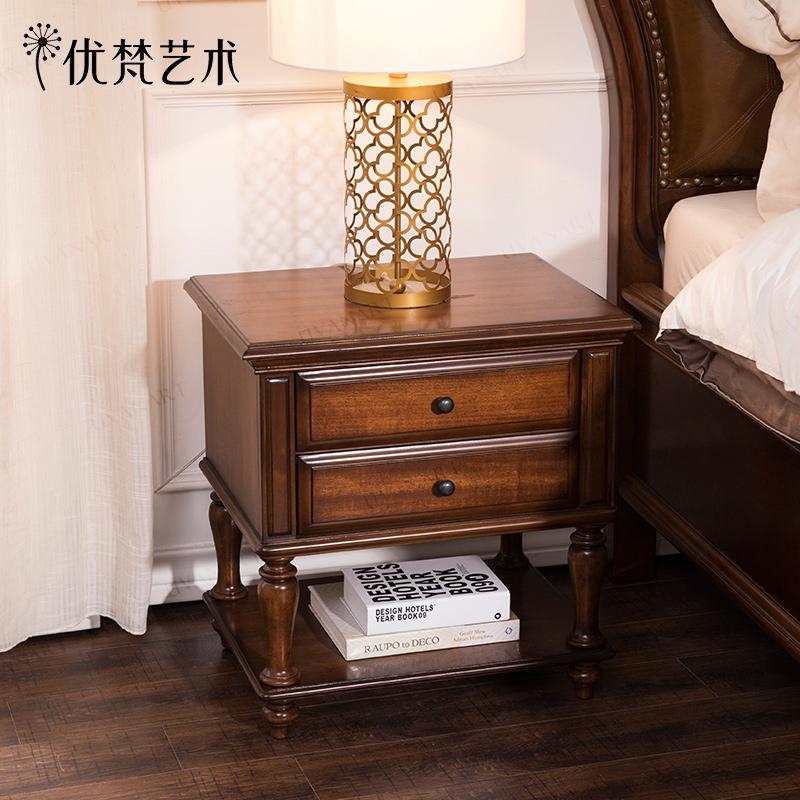 优梵艺术Rhine美式实木脚床头柜抽屉床头橱卧室迷你边柜储物收纳