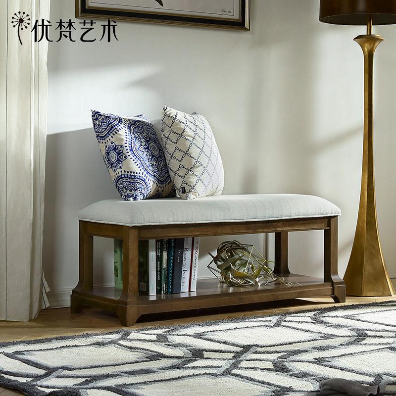 优梵艺术Taylor美式乡村软包床尾凳卧室床榻储物床边凳换鞋凳长凳
