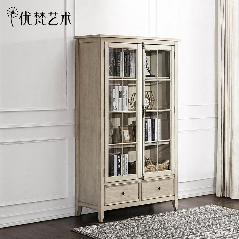 优梵艺术 Payne美式乡村书房实木脚双门书柜储物柜子玻璃展示陈列