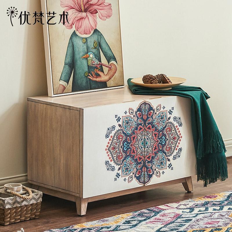 优梵艺术UvanAccent美式风格双门储物卧室地柜小户型客厅木质边柜