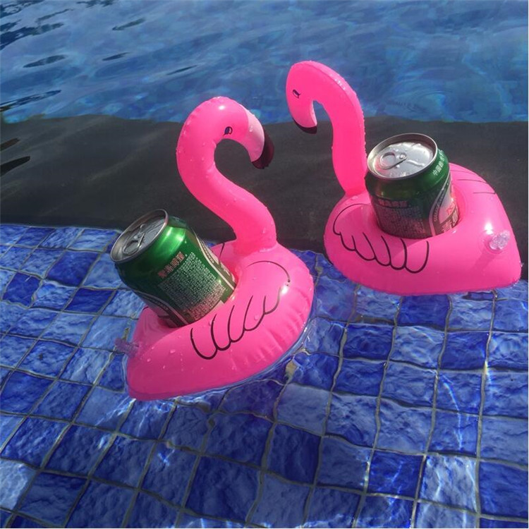 Inflatable Beverage Cup Holder Cola Drink Floating Cup Holder Leisure Water  Swimming Play Water Toy Flamingo Cup Set