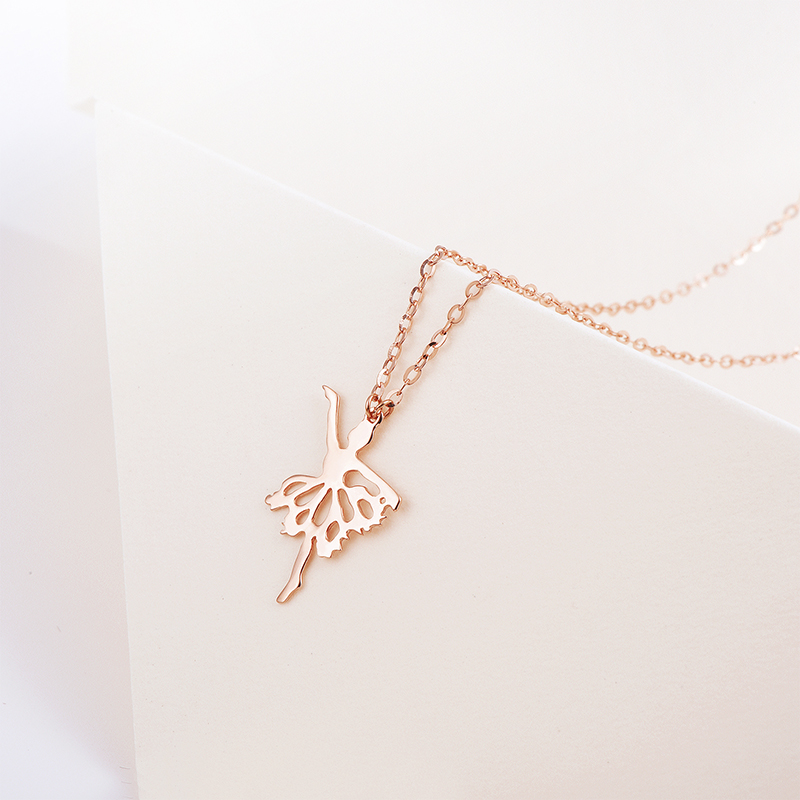 Jewelry 18K Gold Necklace Fun Gold Dance Girl Necklace Cute Rose ...