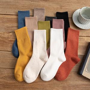 长袜子女中筒袜ins潮棉袜纯棉纯色长筒袜秋冬季堆堆袜中长款黑色