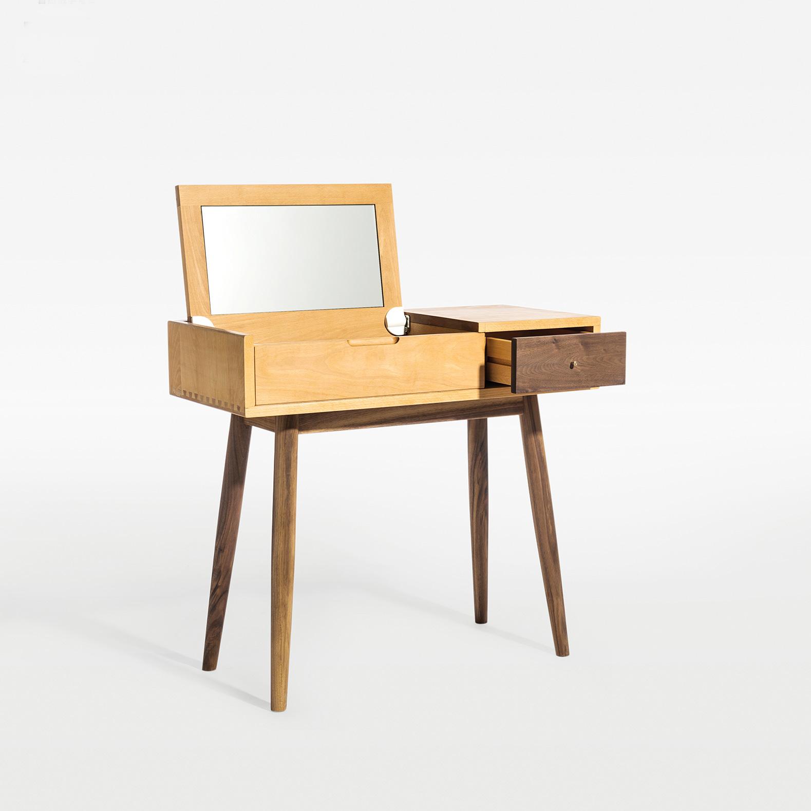 及木家具 北欧原木简约 榉木 白橡 黑胡桃卧室实木梳妆台SZ005