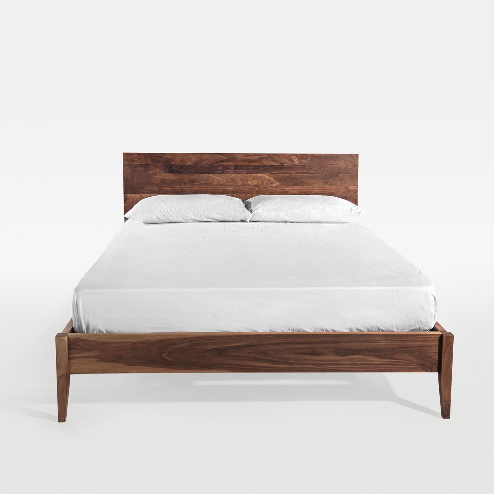 及木家具 北欧原木1.5 1.8米榉木 白橡 黑胡桃双人实木床CC009