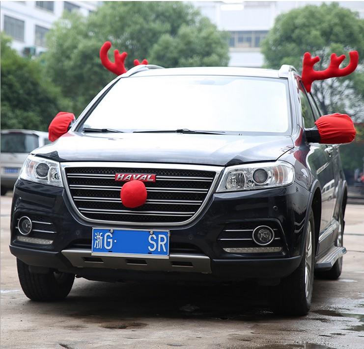 Рождественские украшения Автомобиль рога оленя украшение автомобиля Рождественский олень рога заднего вида зеркало Рождественские украшения крыши пантов марала комплект
