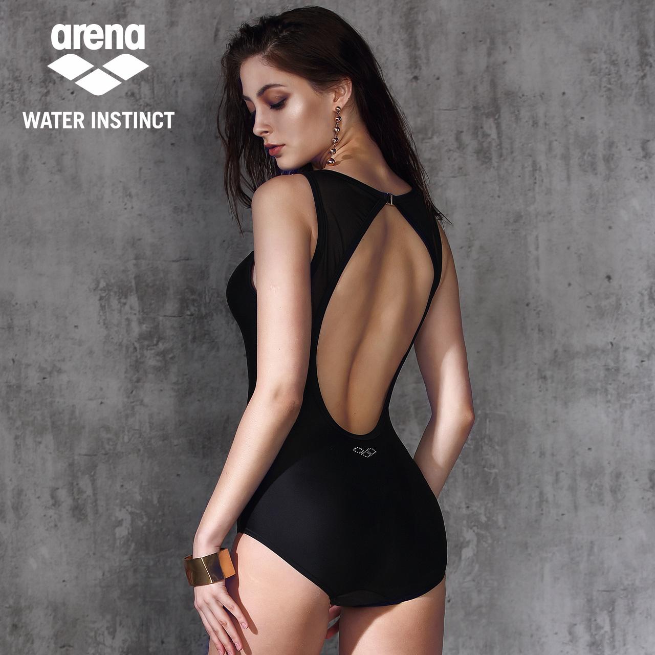 arena阿瑞娜连体泳衣女士 大码保守性感显瘦遮肚游泳衣聚拢泳装