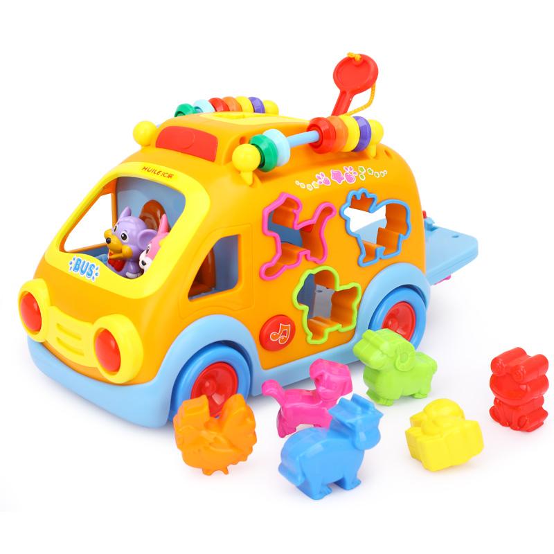 汇乐988开心乐园巴士儿童早教汽车益智电动玩具车带音乐1岁半