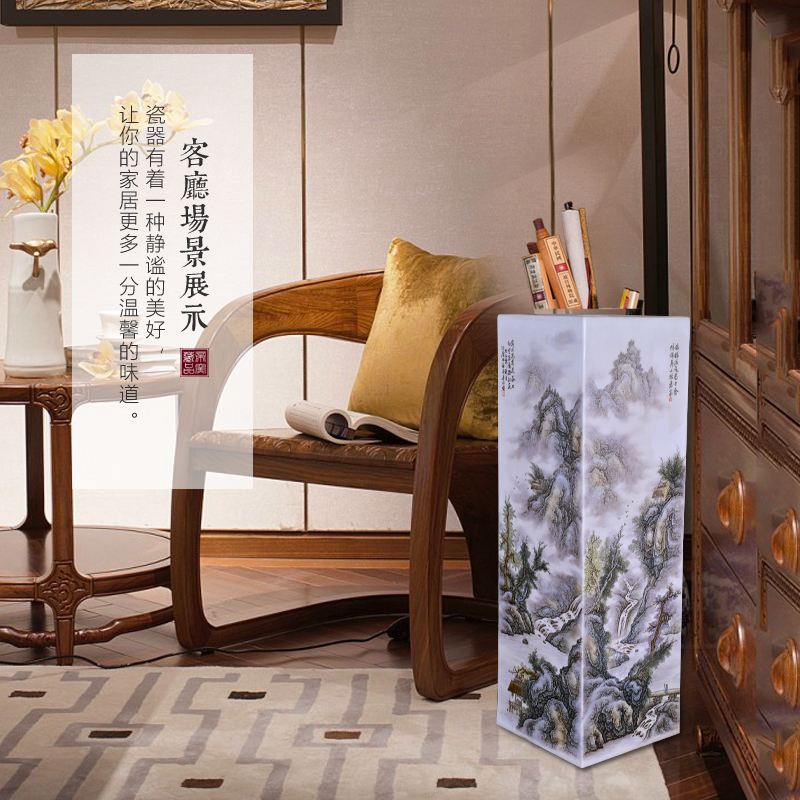 Jingdezhen ceramics by hand draw pastel landscape with Chinese style living room porch decoration vase furnishing articles